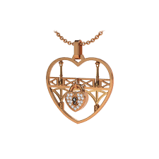 gold heart pendant large lock love with padlock and chain