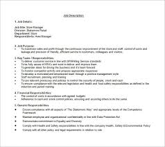 Store Manager Job Description Template 7 Free Word Pdf Format