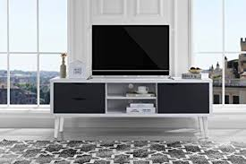 C Sofamania MidCentury Style TV Stand Living Room Entertainment Center  WhiteDark