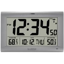 la crosse technology jumbo atomic digital wall clock with outdoor temperature 513 1311ot the home depot