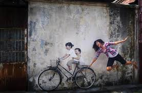 on famous wall art in penang with this interactive street art in malaysia is brilliant twistedsifter