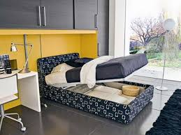 Modern Single Bedroom Designs Enticing Pull Out Bed With Storage Added Built In Black Hardwood