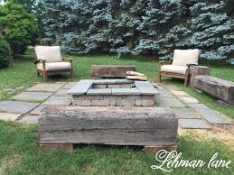 Stone Patio DIY Fire Pit  Wood Beam Benches - Landscape lane outdoor furniture