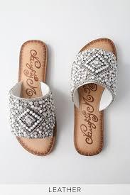 Susanna White Leather <b>Rhinestone</b> Slide Sandals | Slide sandals ...