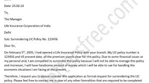 formal application format sample letter format for surrender of life insurance policy