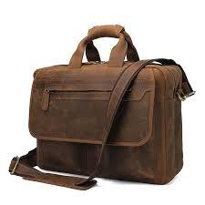 luxury men briefcase crazy horse genuine leather briefcase men bag business handbag laptop shoulder bags tote natural skin bag tactical briefcase briefcase