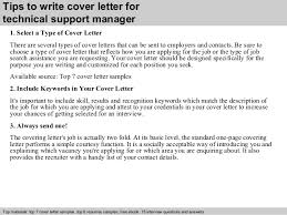 technical support manager cover letter      tips to write cover letter for technical support