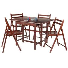 New Taylor 5-Pc Set Drop Leaf Table w/ 4 Folding Chairs