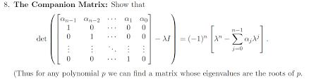 solved 8 the companion matrix show