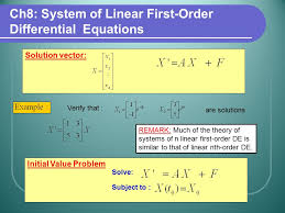 ch8 system of linear first order diffeial equations solution vector verify that