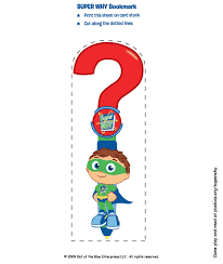 Small Picture Super Why Birthday Party Favors Bookmark Birthday Party PBS