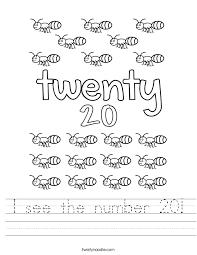 I see the number 20 Worksheet - Twisty Noodle