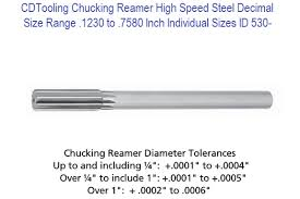 Chucking Reamer High Speed Steel Decimal Size Range 1230 To 7580 Inch Individual Sizes Id 530