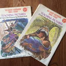 Sunday School Sticker Charts 22 Vtg 1969 Sunday School Bible Teaching Pictures 12x17 Richard Hook Decor Print