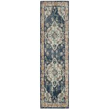safavieh monaco mahal navy light blue indoor distressed runner common 2 x 14