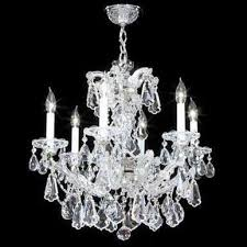 maria theresa royal 6 light crystal chandelier in silver with imperial crystal clear