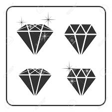 キラキラとダイヤモンド アイコン光沢のある結晶の兆候鮮やかな石黒いシルエットの白い背景で隔離