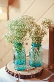 Blue Mason Jars Wedding Decor Jam jar flowers Wedding Pinterest Jam jar flowers Flower 81