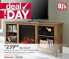 bj s deal of the day 58 wood tv stand console with fireplace 240 shipped my bjs whole club