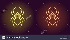 Neon Icon Of Yellow And Orange Spider Vector Illustration Of Neon