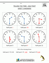 Worksheet : Telling Time Worksheets Oclock And Half Past Telling ...