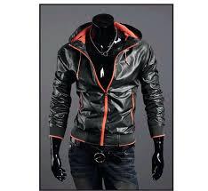 faux leather hoo men zipper thin jackets slim fit coat stand up faux leather hoo coats faux leather hoo men faux leather jacket