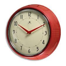 red fifties style kitchen wall clock infinity wall clocks retroplanet com