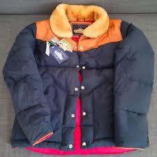 Penfield Rockwool Navy Tan Down Jacket Size Small