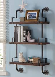 t austin design industrial walnut wood floating wall shelf industrial wall shelves