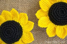 Crochet Sunflower Pattern Mesmerizing Cartoon Crochet Sunflower Pattern Three Crochet Flowers Etsy