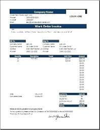 Service Work Order Template Ms Excel Work Order Invoice Template
