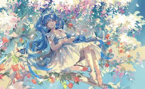 trees ilration anime dress vocaloid hatsune miku heels spring art flower 2448x1512 px