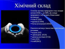 Природний газ презентація з хімії Хімічний склад Основну частину природного газу складає метан ch4 до 98%