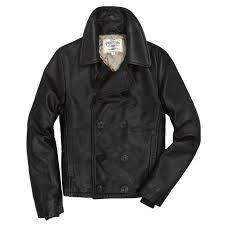 naval short leather peacoat in black