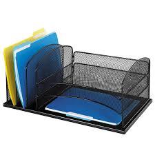 Desk Organizer Safco Steel Mesh 6 Compartment Desk Organizer Black