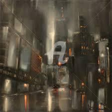 Black city Painting by Corinne Marino | Artmajeur