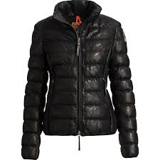 parajumpers jo leather down jacket women s black