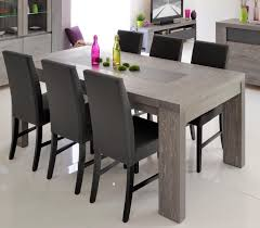 extending dining table in grey oak veneer and lacquered grey glass