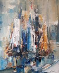 boats painting ana dawani abstract sailing paintings