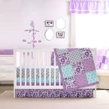 crib bedding set purple and mint