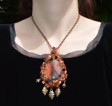 autumn leaf pendant in fall colors elven wire wrapped crystal necklace copper red and gold fairytale jewelry mori girl