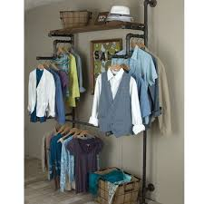 clothing rack from galvanized pipe wood