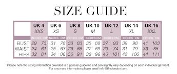 Size Guide Tfnc Sizing Information International Sizing