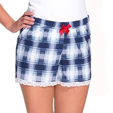 Womens Patterned Shorts Impressive Babella 48 Women's Patterned Checked Pyjama Shorts With Dark Blue
