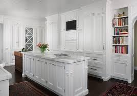 Kitchen Cabinets with Custom TV Niche Transitional Kitchen