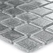 clear glass mosaic tiles silver glitter 25x25x4mm mosafil co uk