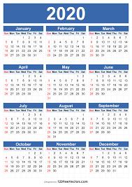 Template For 2020 Calendar Free 2020 Calendar Template