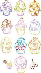 Cupcake Machine Embroidery Designs 4x4 Set Cupcake Cup Cake Applique Machine Embroidery Designs