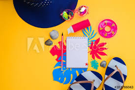 Vibrant Header Header With Traveling Essentials From Above Vacation Concept With