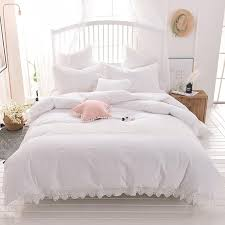 white pink gray 100 cotton bedding set twin full queen king size duvet cover lace bed skirt set pillowcases luxury duvet covers girl bedding from greenliv